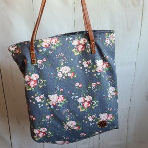 Riah fashion blue floral tote bag new 80s style